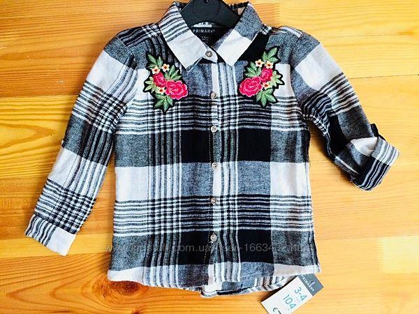 Красивая фланелевая рубашка Primark на 3-4 года