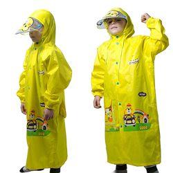 Детский дождевик с капюшоном и местом под рюкзак жёлтый Minshen Мишки унисе