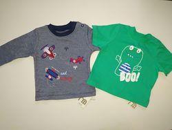 Mothercare  новая  футболка кофта для новорожденного 0-3 3-6 месяцев