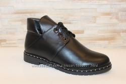 Ботинки женские черные натуральная кожа Д603