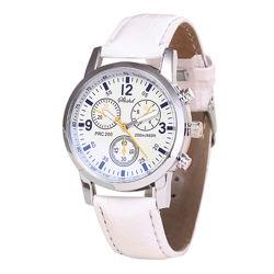 Кварцевые наручные мужские часы с белым ремешком код 443