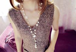 Ожерелье женское длинное с жемчужинами код 1425