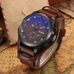 Кварцевые наручные мужские часы с коричневым ремешком код 466-1