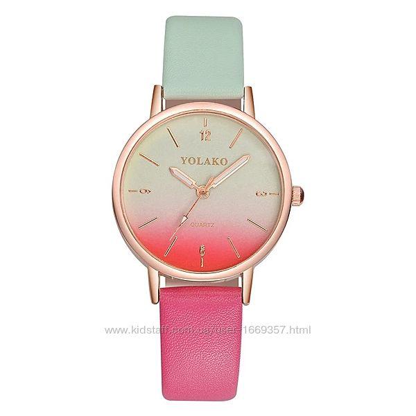 Женские наручные часы с цветным ремешком код 500