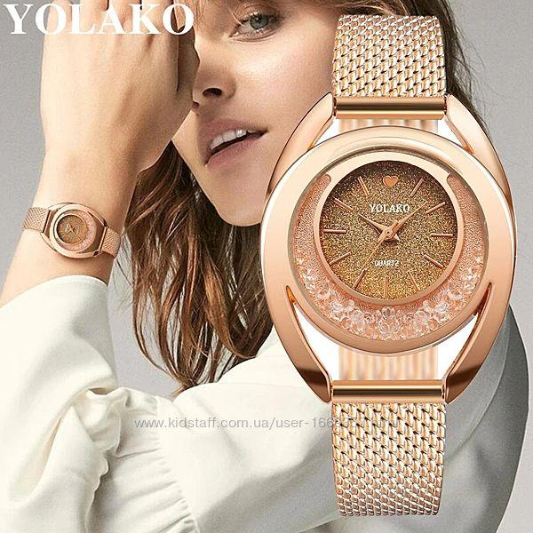 Женские наручные часы с золотистым ремешком код 489