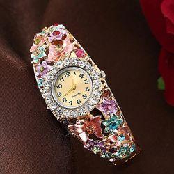 Наручные часы браслет женские с цветами код 629