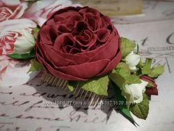 Гребень из фоамирана. Пионовидная роза.