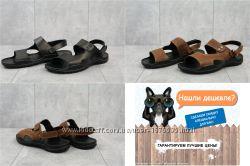 Мужские кожаные сандалии Cardio, черные, коричневые, р. 40-45, OF333