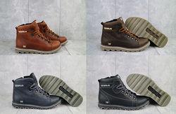 ТОП качество кожаные CAT Caterpilar зимние мужские ботинки, р 40-45, OF101