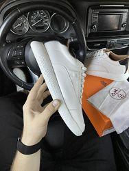 Красивые мужские кроссовки Hermes Shoes LUX качество, белые 41-45, 002-2191