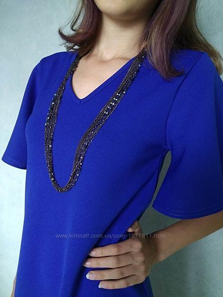 Сапфировое платье трапеция до колен с рукавами колокол/синя сукня
