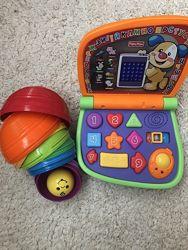 Fisher price ноутбук пульт пирамидка развивающие игрушки от 6мес на годик