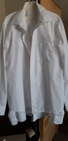 Фирменные рубашки белые школьные с длинным рукавом и коротким
