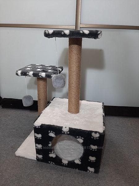 Домик с двумя когтеточками для котов дом для котиков