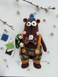 Игрушка ручной работы, бобер, вязаные игрушки, мягкая кукла, подарок
