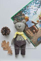 Текстильный мишка с вышивкой и одеждой, экологичные игрушки для детей