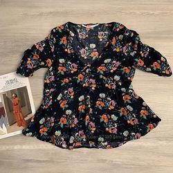 ZARA. Испания. Натуральная цветочная блуза. Струящаяся вискоза 100 вискоза