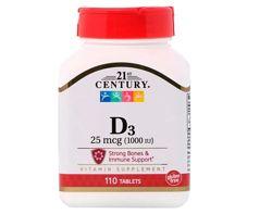 Акция D3 1000IU, 110 шт, 21st Century, витамины США, оригинал, в наличии