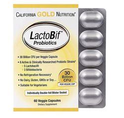 Акция California Gold Nutrition, Пробиотики LactoBif, 30 млрд КОЕ, 60шт