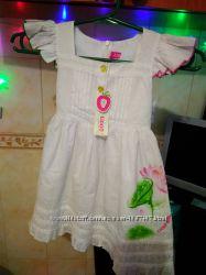 Белое летнее платье для девочки 3-4 года