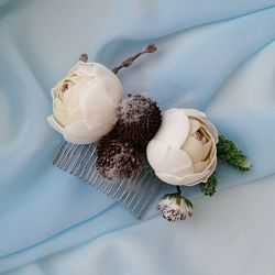 Свадебный цветочный гребень  - украшение в прическу