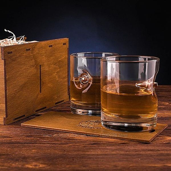 Набор стаканов для виски с пулей 7.62 мм 2 шт