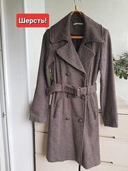 Шерстяное двубортное пальто с поясом тренч xanaka франция S 46 44 48