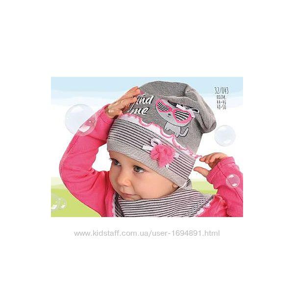 Демисезонная хлопковая шапка для девочки Find me серая AJS, Польша