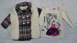 Демисезонный комплект для девочки Girls пальто, шарф и платье Турция