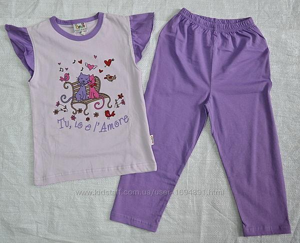 Летняя хлопковая пижама для девочки Влюбленные коты Oztas, Турция