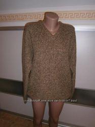 Теплый свитер грубой вязки с v- образным вырезом