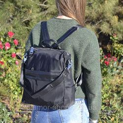 Женский кожаный рюкзак сумка из плащевки жіночий ранець сумка чорний
