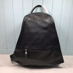Женский кожаный рюкзак стильный жіночий шкіряний ранець чорний