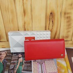 Женский кожаный кошелёк красный на кнопке Prensiti жіночий шкіряний гаманец