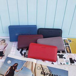 Женский кожаный кошелёк портмоне черный красный Жіночий шкіряний гаманець