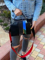 Женская кожаная сумка Polina & Eiterou через на плечо с широким ремешком