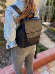 Женский кожаный текстильный городской рюкзак  стильный вместительный чёрный