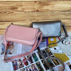 Женская кожаная сумка через плечо Galanty бронзовая розовая жіноча шкіряна