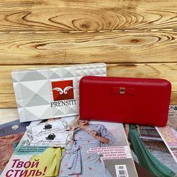 Женский кожаный кошелёк портмоне на молнии красный Prensiti жіночий