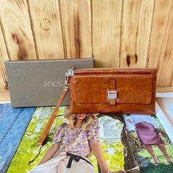 Женский кожаный кошелёк клатч портмоне рыжие лаковый JCCS жіночий шкіряний