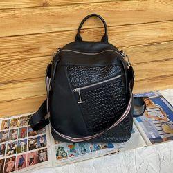 Рюкзак женский кожаный городской с выделкой под крокодила жіночий шкіряний