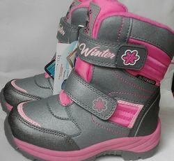 Зимние термо ботинки сапоги для девочки B&G размеры 25 28 30