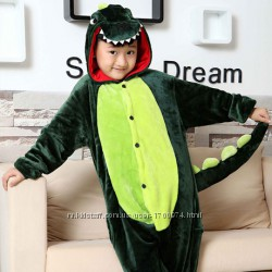 Костюм Кигуруми пижама Дино зелёный дракон, динозавр