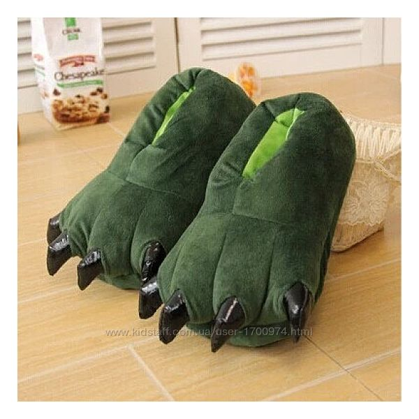 Тапки лапки коготки Зеленые / Тапочки-игрушки для кигуруми с коготками