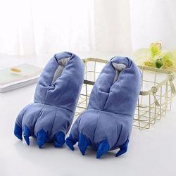 Тапки лапки кігтики сині / Капці плюшеві для кігурумі з кігтиками