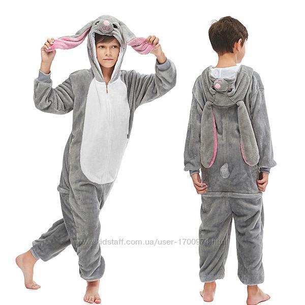 Кигуруми кролик/ кигуруми серый кролик / кигуруми серый зайчик пижама зайка
